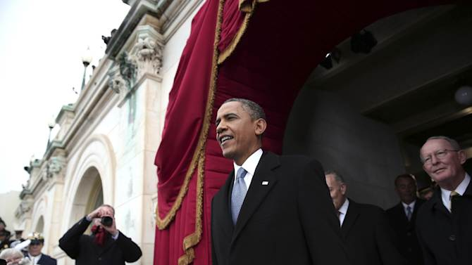 President Barack Obama arrives on the West Front of the Capitol in Washington, Monday, Jan. 21, 2013, for  his ceremonial swearing-in ceremony during the 57th Presidential Inauguration.  (AP Photo/Win McNamee, Pool)