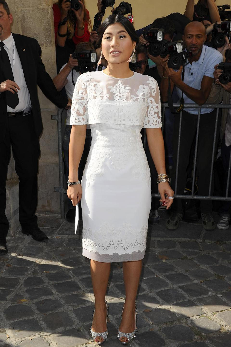 Princess Siriwanwaree Nareerat Of Thailand arrives to attend Christian Dior's ready-to-wear Spring/Summer 2014 fashion collection, presented Friday, Sept. 27, 2013 in Paris. (AP Photo/Zacharie Scheurer)