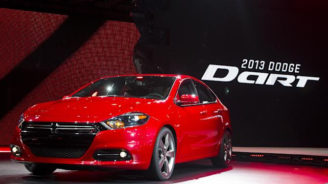 FILE - In this Monday, Jan. 9, 2012, file photo, the 2013 Dodge Dart is unveiled at the North American International Auto Show, in Detroit, Mich. The Dart, unveiled with much fanfare at last year's Detroit auto show, got off to a slow start after going on sale in May 2012. Only 25,000 have sold, which CEO Sergio Marchionne concedes is short of his expectations. (AP Photo/Tony Ding, file)