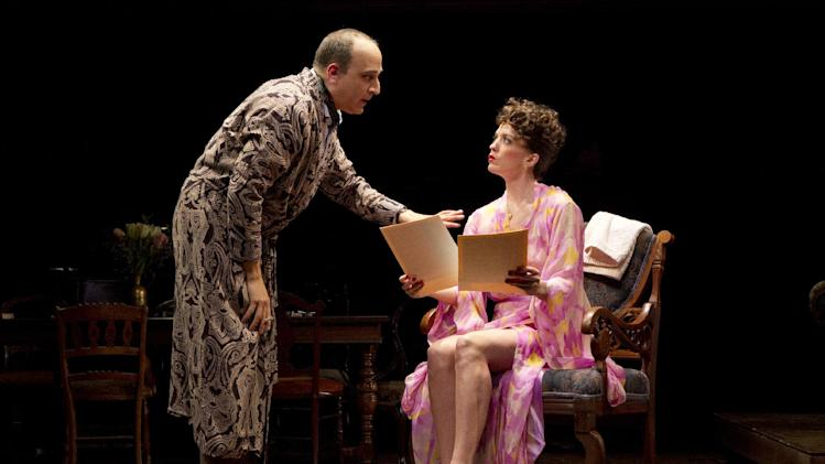 """In an undated publicity photo released by The Public Theater, from left, Julian Fleisher and Kacie Sheik, are shown in a scene from the musical """"February House,"""" currently performing off-Broadway from May 8 through June 10, 2012 at The Public Theater in New York.  (AP Photo/The Public Theater, Joan Marcus)"""