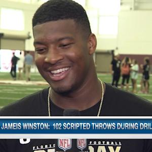 Florida State University quarterback Jameis Winston drops a Ludacris line during pro day interview
