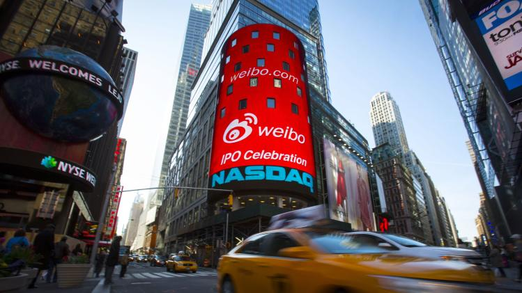 The Weibo logo is seen at the NASDAQ MarketSite in Times Square in celebration of its initial public offering (IPO) on The NASDAQ Stock Market in New York
