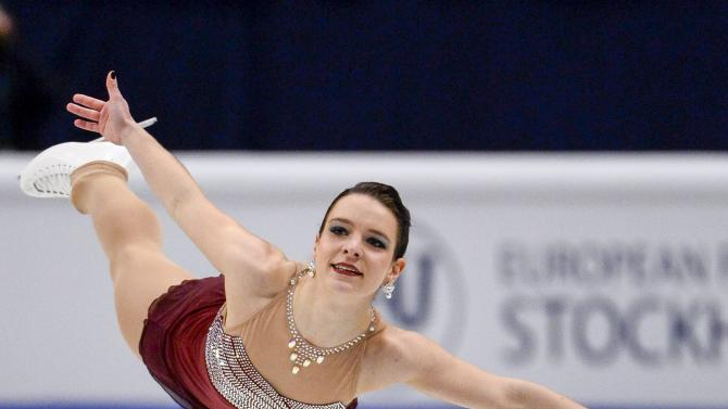 Rodeghiero of Italy skates during ladies free program at the European Figure Skating championships in Stockholm