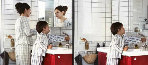 This is two photos made available Monday Oct. 1, 2012 by Ikea in Sweden and taken from Swedish, left, and Saudi Arabian, right, IKEA catalogue for 2013 . Ikea is being criticized for deleting images of women from the Saudi version of its furniture catalogue, a move the company says it regrets. Comparing the Swedish and Saudi versions of the Ikea catalogue, Sweden&#39;s free newspaper Metro on Monday showed that women had been airbrushed out of otherwise identical pictures showcasing the company&#39;s home furnishings. (AP Photo /Ikea via Scanpix Sweden) SWEDEN OUT EDITORIAL USE ONLY