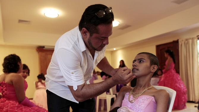 "A cancer patients prepares to take part in her ""Quinceanera"" (15th birthday) party at a hotel in Managua"