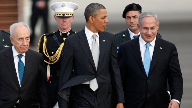 Israeli President Shimon Peres and Prime Minister Benjamin Netanyahu walk with President Obama on March 22.