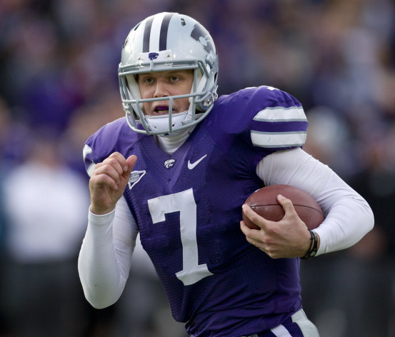 Kansas State quarterback Collin Klein (7) runs for a touchdown during the second half of an NCAA college football game against Texas Tech in Manhattan, Kan., Saturday, Oct. 27, 2012. Kansas State defeated Texas Tech 55-24. (AP Photo/Orlin Wagner)