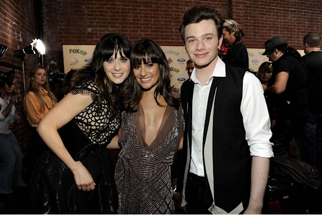 "Zooey Deschanel (""New Girl"") with Lea Michele and Chris Colfer of ""Glee"" at the 2011 Fox Fall Eco-Casino Party at The BookBindery on September 12, 2011 in Culver City, California."