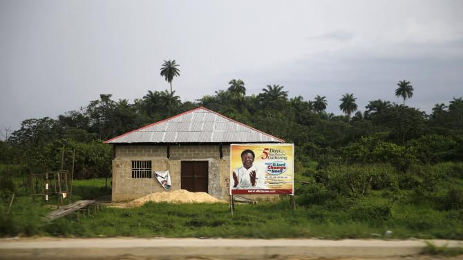 A building used as a place of worship is seen along a road in Yenagoa in Nigeria's Bayelsa state