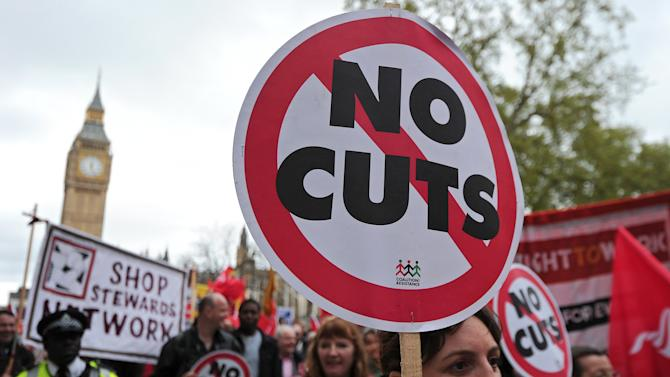 Striking public sector workers march in protest through central London on May 10, 2012