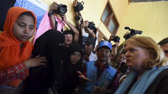 U.S. Assistant Secretary of State for Population, Refugees, and Migration Anne C. Richard visits with Rohingya migrants at a temporary shelter in Kuala Cangkoi, Lhoksukon, Aceh province, Indonesia