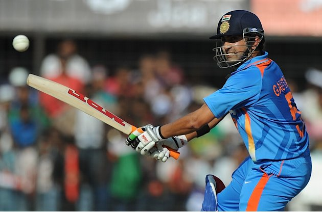 India&amp;#39;s batsman Gautam Gambhir plays a s