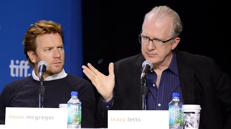 "Writer Tracy Letts, right, and actor Ewan McGregor attend the press conference for ""August: Osage County"" on day 6 of the 2013 Toronto International Film Festival at the TIFF Bell Lightbox on Tuesday, Sept. 10, 2013 in Toronto. (Photo by Evan Agostini/Invision/AP)"