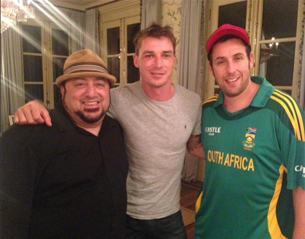 Adam Sandler (far right) with Dale Steyn (centre) on the sets of The Familymoon. Photo via http://instagram.com/dalesteyn