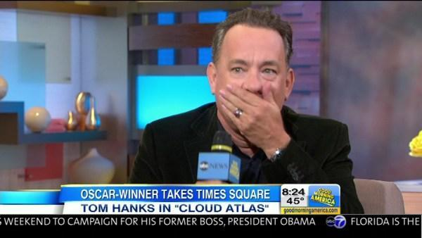Tom Hanks on GMA swears on live TV doing impersonation