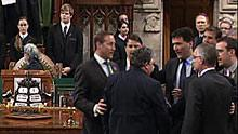 Government House leader Peter Van Loan was involved in a heated exchange with NDP House leader Nathan Cullen and Opposition Leader Tom Mulcair Wednesday that saw other MPs step in to restore order.