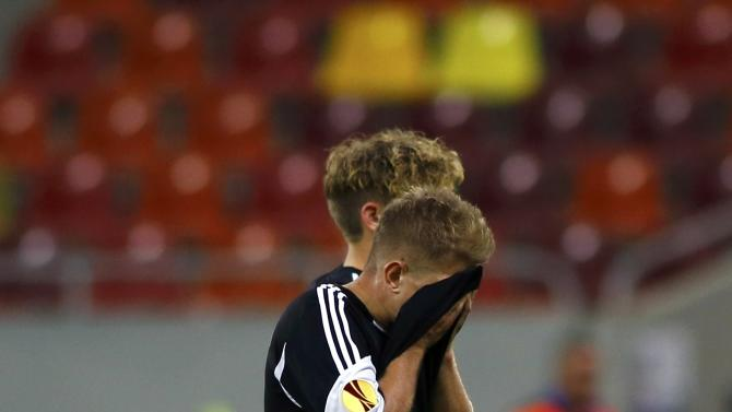 AaB's Wichmann reacts after the Europa League Group J soccer match against Steaua Bucuresti at National Arena in Bucharest