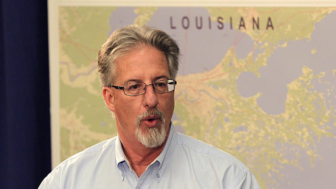Mike Utsler, President of BP America's Gulf Coast Restoration Organization, speaks at a news conference on post-Hurricane Isaac response activities in Louisiana, Mississippi, Alabama and Florida, in New Orleans, Tuesday, Sept. 11, 2012. (AP Photo/Gerald Herbert)