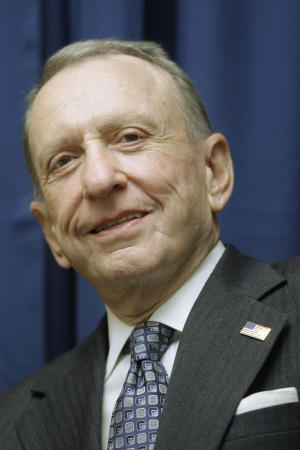 FILE - Sen. Arlen Specter, R-Pa. is seen in Philadelphia, in this Nov. 7, 2008 file photo. The longtime Pennsylvania senator performed at an open-mic night at the Helium Comedy Club in Philadelphia on Tuesday, Dec. 27, 2011 continuing a post-politics foray into standup. (AP Photo/Matt Rourke, file)
