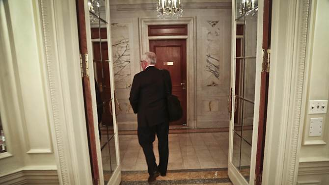 NBA Commissioner David Stern leaves after a press conference at the NBA board of governors meeting, Wednesday, Oct. 23, 2013 in New York. Stern will formally step aside on Feb. 1, 2014, after 30 years and Deputy Commission Adam Silver will become the new league commissioner