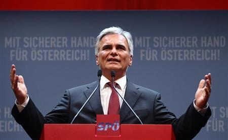 Austrian Chancellor and head of the social democrats SPOe Faymann delivers a speech during his party's official election campaign start in Vienna