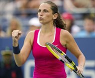 Roberta Vinci of Italy reacts to a point against Agnieszka Radwanska of Poland during their women&#39;s singles match at the 2012 US Open tennis tournament in New York. Vinci won 6-1, 6-4