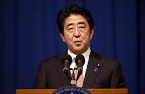Japanese Prime Minister Shinzo Abe speaks during a …