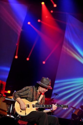 Mexican-American rock guitarist Carlos Santana performs at the annual Java Jazz Festival 2011 in Jakarta