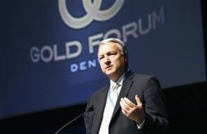 Jamie Sokalsky, CEO of Barrick Gold, speaks at Denver Gold Forum industry conference in Denver