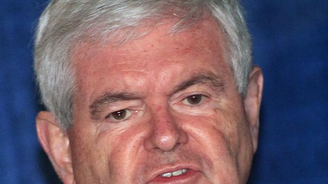 Republican presidential candidate, former House Speaker Newt Gingrich, campaigns at the Back Porch Saloon, Saturday, March 3, 2012, in Hamilton Ohio.  (AP Photo/Tony Tribble)