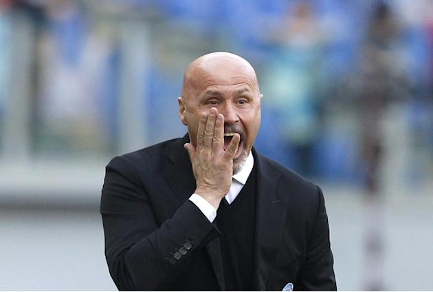Atalanta coach Stefano Colantuono shouts to his players during a Serie A soccer match between Lazio and Atalanta, at Rome's Olympic stadium, Sunday, March 9, 2014