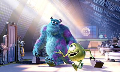 Top Scarer James P. Sullivan ( John Goodman ), and his His Scare Assistant, best friend and roommate, Mike Wazowski ( Billy Crystal ) go about their business in Disney's Monsters, Inc.