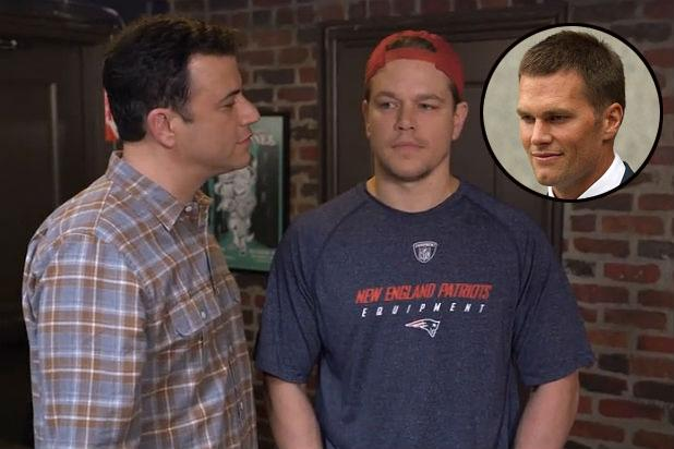 Jimmy Kimmel Says Matt Damon Is 'Holed Up in a Bathroom' With Picture of Tom Brady