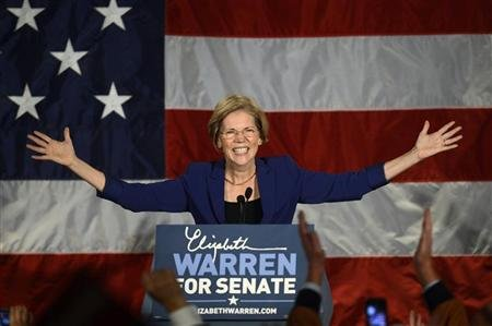 Senator-elect for Massachusetts Elizabeth Warren addresses supporters during her victory rally in Boston, Massachusetts, November 6, 2012. REUTERS/Gretchen Ertl