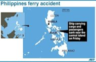 Graphic map showing the island of Burias in central Philippines where a ferry carryring 57 people on board sank on Friday