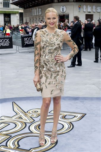 Malin Akerman arrives for the European Premiere of Rock of Ages, at a central London cinema Sunday, June 10, 2012. (AP Photo/Jonathan Short)