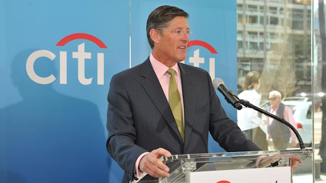 IMAGE DISTRIBUTED FOR CITI - Michael Corbat, CEO, Citigroup Inc., speaks at a Citibank Branch Ribbon Cutting on Wednesday, April 10, 2013 in Washington. Citibank's branch network spans approximately 4,000 worldwide. (Larry French/AP Images for Citi)