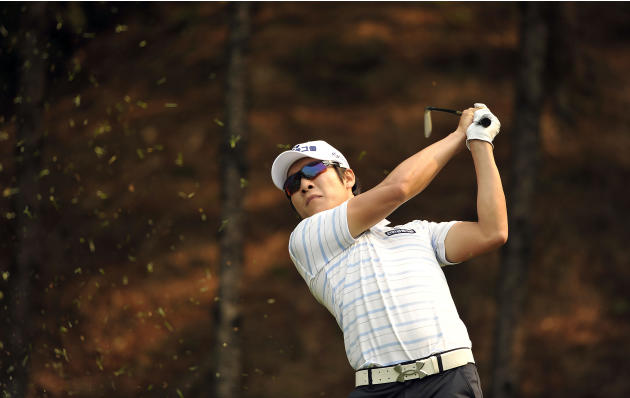 This handout photo provided by OneAsia on May 10, 2012 shows Kim Kyung-tae of South Korea during the 31st GS Caltex Maekyung Open Golf Championship at the Nam Seoul Golf and Country Club in Seoul.  Th