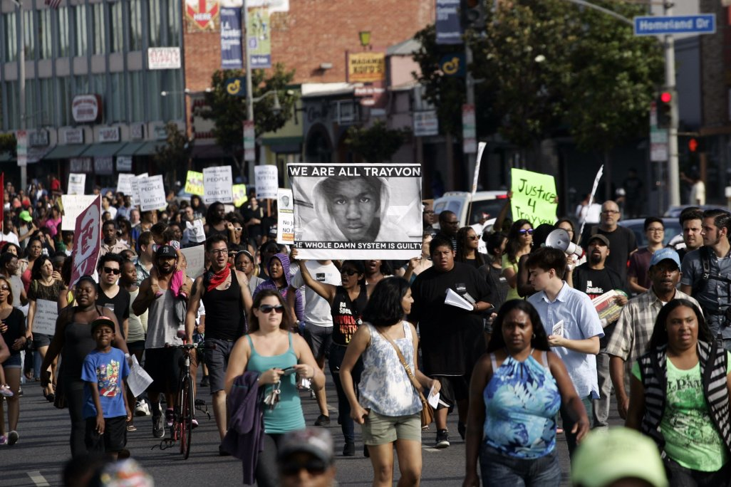 Demonstrators march during a protest against the acquittal of George Zimmerman in the Trayvon Martin trial, in Los Angeles