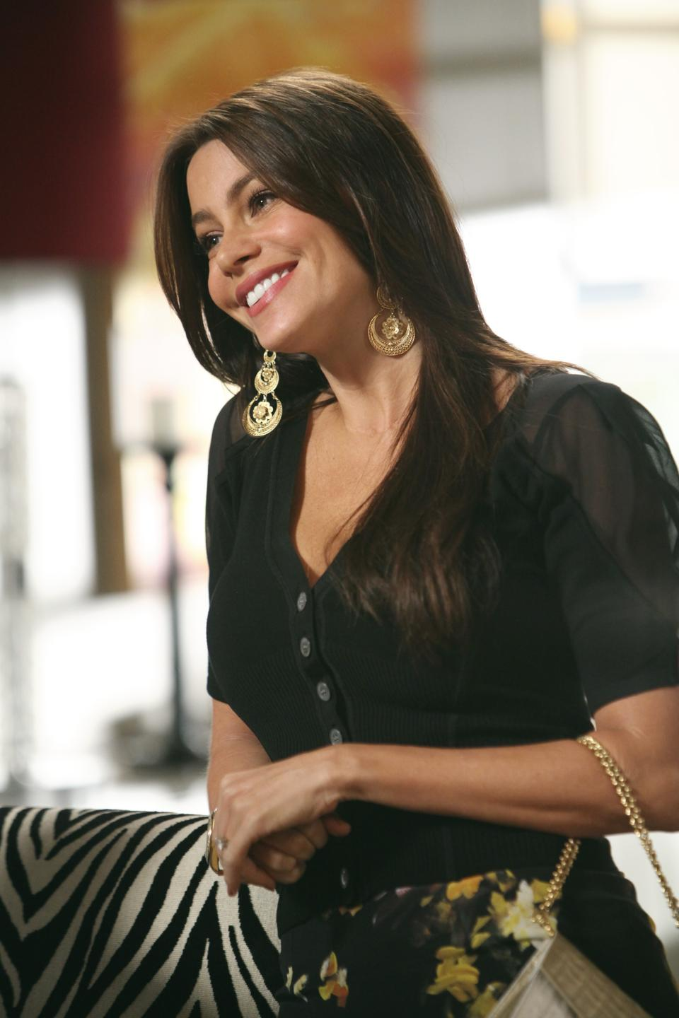 "In this publicity image released by ABC, Sofia Vergara portrays Gloria Delgado-Pritchett in a scene from the comedy series ""Modern Family."" The 63rd Emmy Award nomination announcements will be made on Thursday, July 14, 2011. (AP Photo/ABC, Adam Larkey)"