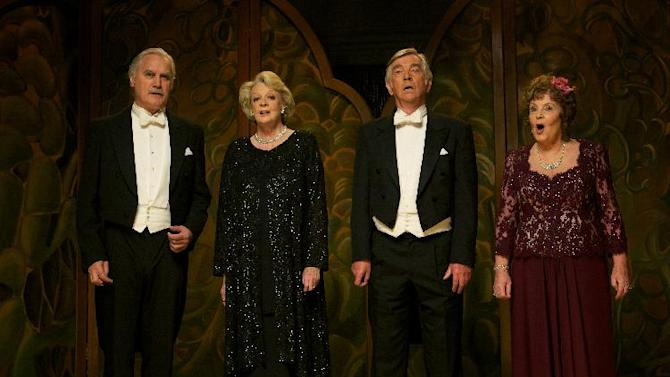 """This film image released by The Weinstein Company shows, from left, Billy Connolly, Maggie Smith, Tom Courtenay and Pauline Collins in a scene from """"Quartet."""" (AP Photo/The Weinstein Company, Kerry Brown)"""