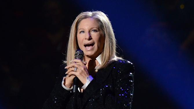 FILE - This Oct. 11, 2012 file photo shows singer Barbra Streisand performing at the Barclays Center in the Brooklyn borough of  New York. The Academy of Motion Picture Arts and Sciences announced Wednesday that the 70-year-old singing veteran will hit the stage on Feb. 24. It will be her second performance at the Oscars, and her first in 36 years. (Photo by Evan Agostini/Invision/AP, file)