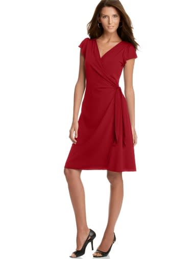 Studio M Dress, Flutter Sleeve Matte Jersey Wrap, $69.98