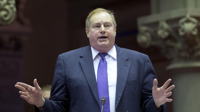 Assemblyman Marc Butler, R-Herkimer, debates New York's Secure Ammunition and Firearms Enforcement Act before a vote in the Assembly Chamber at the Capitol on Tuesday, Jan. 15, 2013, in Albany, N.Y. Butler's district includes the Remington Arms Company. (AP Photo/Mike Groll)