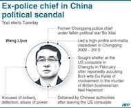 "Graphic on Wang Lijun, a former Chongqing police chief under fallen political star Bo Xilai. China put an ex-police chief who triggered the Communist party's biggest scandal in years on ""public"" trial, with the court saying he did not contest the key charges against him"