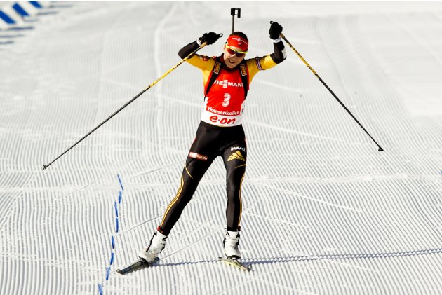 Kuzmina of Slovakia competes in the women's 10 km pursuit race during the Biathlon World Cup in Oslo