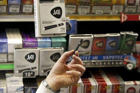 File photo of the new e-cigarette Jai is displayed in a tobacco shop in Paris