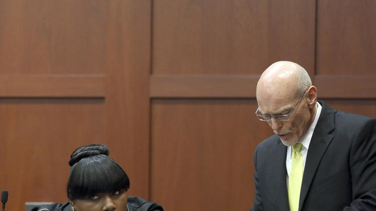 FILE - This June 26, 2013 file photo, witness Rachel Jeantel listens as defense attorney Don West questions her during her testimony at George Zimmerman's trial in Seminole circuit court in Sanford, Fla. Zimmerman has been charged with second-degree murder for the 2012 shooting death of Trayvon Martin.(AP Photo/Orlando Sentinel, Jacob Langston, Pool)