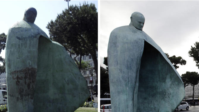 This combined picture shows Italian sculptor Oliviero Rainaldi's statue of Pope John Paul II before its restoration, left, on May 20, 2011, and at its inauguration after the restoration, in Rome, Monday, Nov. 19, 2012. The city of Rome has inaugurated a revamped statue of Pope John Paul II after the first one was pilloried by the public and the Vatican. Artist Oliviero Rainaldi says he's pleased with the final product, saying it matches his original vision. He blamed foundry workers for a botched assemblage the first time around. The statue was restored after Rainaldi was pilloried by the Vatican for creating a sculpture of Pope John Paul II that some mockingly say looks more like Fascist dictator Benito Mussolini than the beloved late pontiff. (AP Photo)