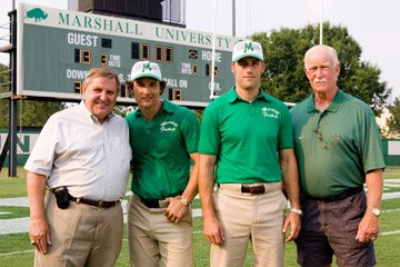 Matthew McConaughey , Matthew Fox and their real-life counterparts Jack Lengyel and Red Dawson on the set of Warner Bros. Pictures' We Are Marshall